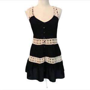 Anthropologie black crochet cut out top